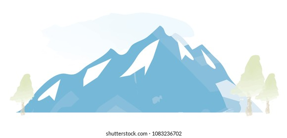 Watercolour Mountains Landscape