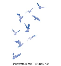 Watercolour silhouette of flying birds seagulls on white background. Inspirational for body or flesh tattoo ink of sea birds. Vector.