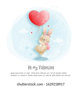 Watercolour Valentines card with cute rabbit vector illustration.