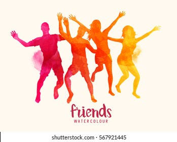 Watercolour vector illustration of young bright coloured friends jumping together.