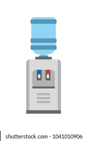 Watercooler machine, poster with construction made of gallon and small table with red and blue lamps, plastic bottle and purity vector illustration