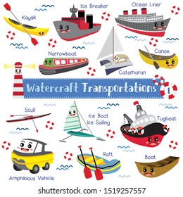 Watercraft Transportations cartoon set with vehicles name in perspective view vector illustration set 1.