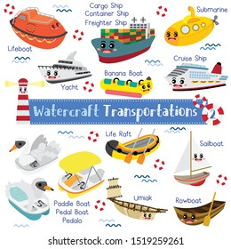 Watercraft Transportations cartoon set with vehicles name in perspective view vector illustration set 2.
