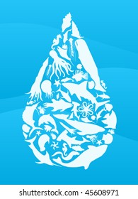 Waterdrop illustration made from sea creature silhouettes