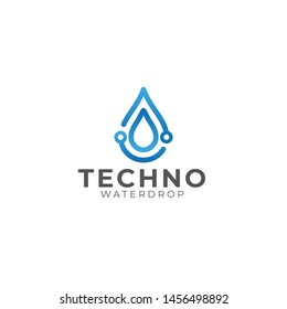 Waterdrop Tech Vector Logo Design
