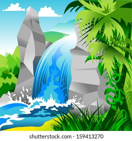 waterfall among the highest cliffs in the jungle, illustration