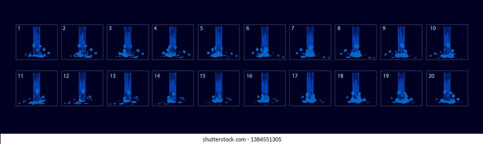 Waterfall animation. Water special effect fx animation. Waterfall Sprite sheet for game, cartoon or animation.-vector