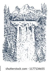 Waterfall in the background of the mountains. Landscape of nature in the forest. Engraved hand drawn in old sketch and monochrome vintage style. Travel postcard.