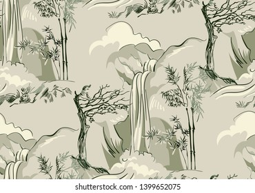 waterfall bamboo vector japanese chinese nature ink illustration engraved sketch traditional textured seamless pattern colorful watercolor