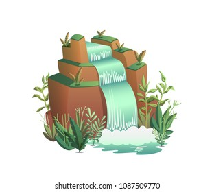 Waterfall. Cartoon landscapes with mountains, trees and bushes . Vector illustration