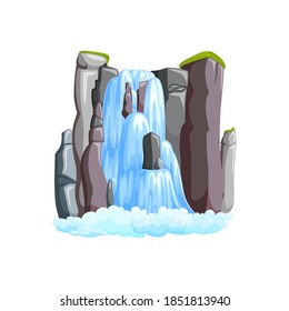Waterfall cascade in mountains. Waterfall front view isolated in white background. Vector illustration in cartoon style
