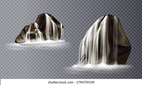 Waterfall cascade on rock, realistic water fall streams falling from mountains, pure liquid jets and stones with fog down, fountain design. Realistic 3d vector icons isolated on transparent background