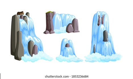 Waterfall cascades in mountains for paradise landscapes. Set of water cascades splasing down from the river isolated in white background. illustration in cartoon style