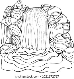 Waterfall Coloring Page For Children And Adults Pattern Isolated Cartoon Cascade Stones Decorative