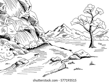 Waterfall graphic black white landscape sketch illustration vector