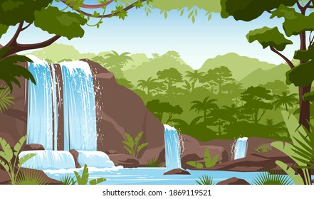 Waterfall in green jungle rainforest vector illustration. Cartoon tropical panoramic landscape with river water falling down from mountain rocks, fresh greenery of wild trees and bushes background