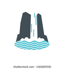 Waterfall icon with water falling into the lake or sea. Vector illustration
