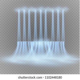Waterfall, isolated on transparent background.vector illustration. A stream of water.