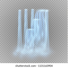 Waterfall, isolated on transparent background.vector illustration. A stream of water