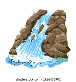 Waterfall isolated on white background. Water cascade on steep rocky. Waterfall with stones.Landscape of cascade falling water in park, jungles or garden.Element for scenery design.Vector illustration