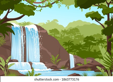 Waterfall jungle landscape vector illustration. Cartoon tropical natural scenery with cascade of rocks, river streams of water flowing, green exotic woods with wild nature and bush foliage background