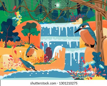 Waterfall in a jungle life, Wonderland landscape of waterfall with Kingfisher bird standing on branches tree and colourful forest plant in spring or summer, Vector Illustration fantastic fairy tale