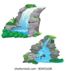 waterfall in jungle vector