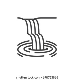 Waterfall line icon, outline vector sign, linear style pictogram isolated on white. Symbol, logo illustration. Editable stroke. Pixel perfect vector graphics