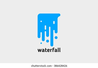 waterfall logo. water logo. creative logo design. line logo.
