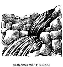 Waterfall mountain rocks. Black and White sketch drawing by hand.