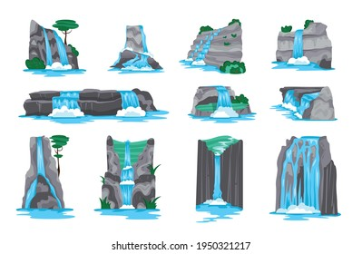 Waterfall in mountains cartoon set of decorative elements for video game interface isolated on white background vector illustration