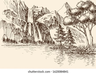 Waterfall in the mountains landscape