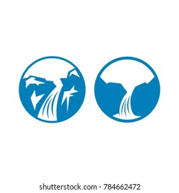 Waterfall of natural vacation abstract vector and logo design, Flat design icon.