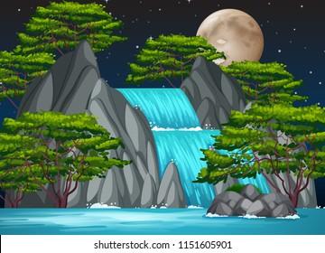 A waterfall at night  illustration