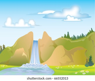 Waterfall on a blue sky and clouds