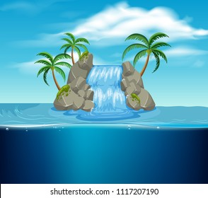 A Waterfall on the Island illustration