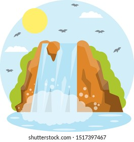 Waterfall on the mountain. Rocks and water. Tropical island. Pond and lake. Water falls down. Summer season, sky and birds. Southern landscape. Cartoon flat illustration