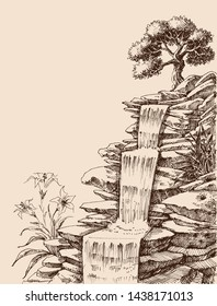 Waterfall on natural rock stairs vector hand drawing