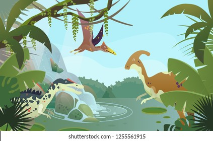 Waterfall with prehistoric parasaurolophus, spinosaurus or allosaurus, pterodactyloidea. Ancient nature and animals. Stream at jungle with ancient lizard or extinct reptile. Wildlife and jungle