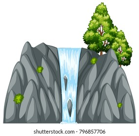 Waterfall scene with tree on the rock illustration