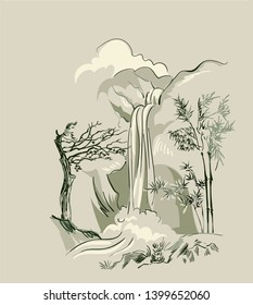 waterfall vector card  japanese chinese nature ink illustration engraved sketch traditional textured colorful watercolor
