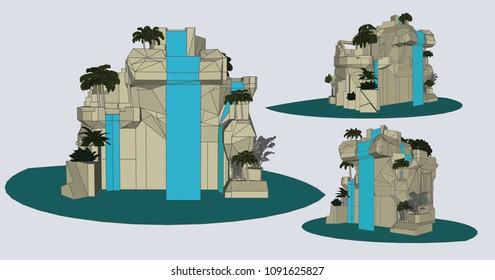 Waterfall, Vector & Illustration