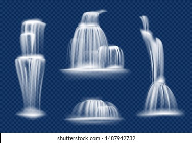 Waterfall. Water cascade flowing with splashes and drops fast transparent natural vector realistic waterfall