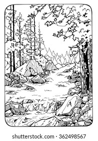 waterfall in the wood; coloring page for adults; antistress coloring