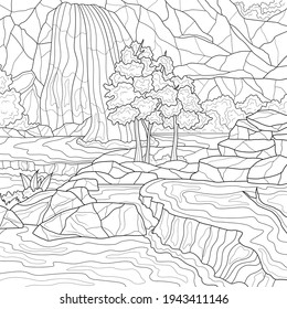 Waterfall.Landscape.Coloring book antistress for children and adults. Illustration isolated on white background.Zen-tangle style. Hand draw