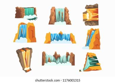 Waterfalls set, cascading streams of various shape cartoon vector Illustrations