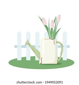 Watering can with a bouquet of tulips at the wooden fence. Vector illustration.