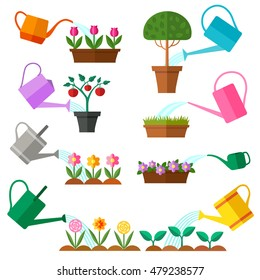 Watering can collection. Vector