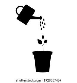 watering can flowerpot silhouette. Botanical background. Isolated vector. Stock image. EPS 10.