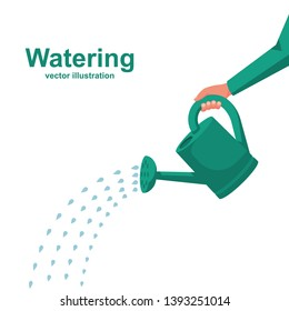 Watering can holding in hand.  Man watering with a watering can. Vector Illustration flat design. Drops of water falling. Isolated on white background.